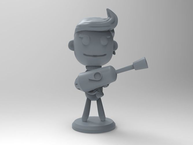 oxygen not included game character with a gun 3d model stl 1