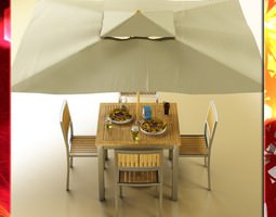 Exterior bar table chair parasol food and drink 3D Model