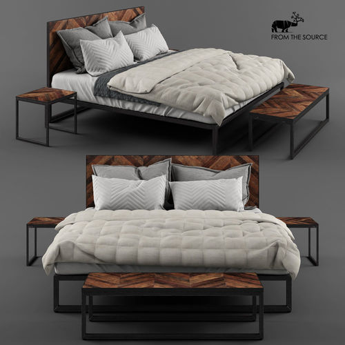from the source - ikan king bed 3d model max obj mtl 1