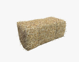 Low Poly Hay bale with LOD 3D model