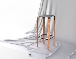 Scandinavian Design Four legged Bar Stool 3D model
