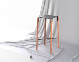 Minimalistic Scandinavian Design Bar Stool 3D model