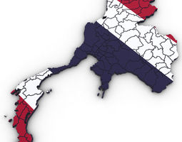 3d Political Map of Thailand