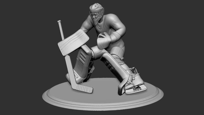 hockey player goalie collectible figure statue 3d print pose 04 3d model obj mtl stl 1