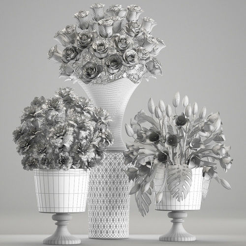 3d Model Bouquets Of White Flowers In Vases Cgtrader