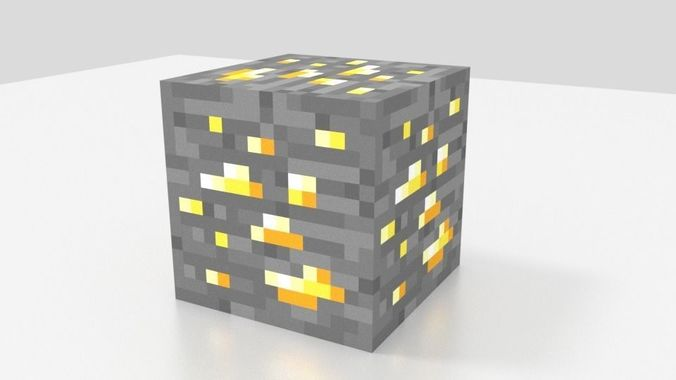 Minecraft Gold Ore 3d Model Cgtrader