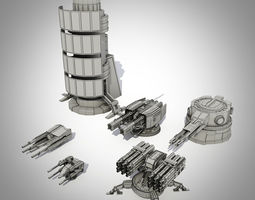 Sci-fi turrets collection  3D Model