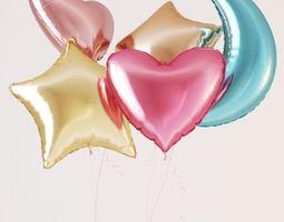 Colorful foil helium balloons 3D model