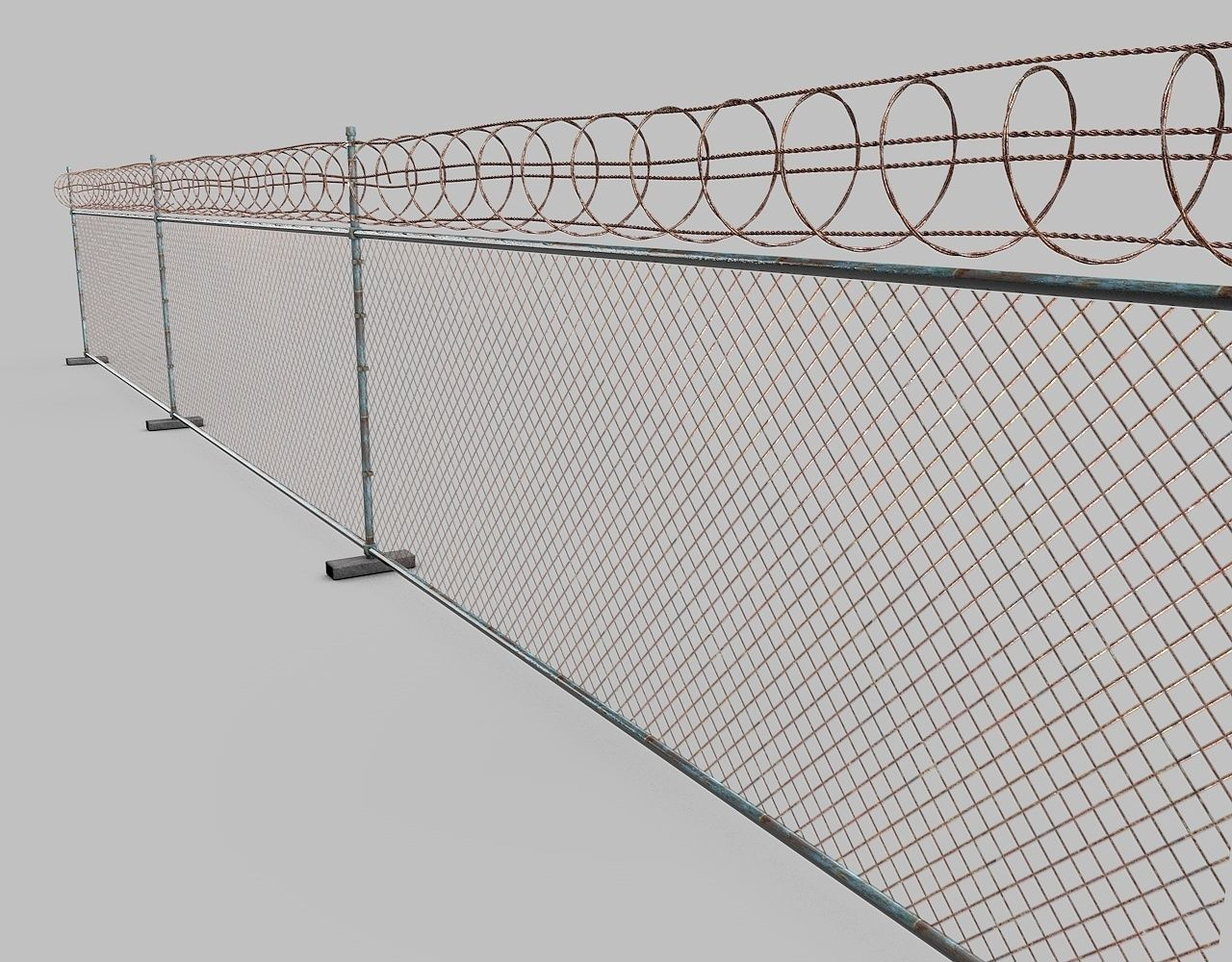 Barbed wire fence 3d model obj 3ds fbx c4d dxf for 3d fence