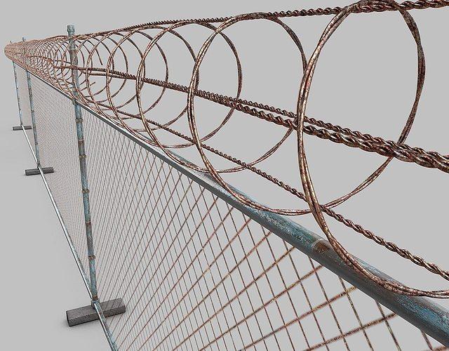 barbed-wire-fence 3d model obj mtl 3ds fbx c4d dxf 1