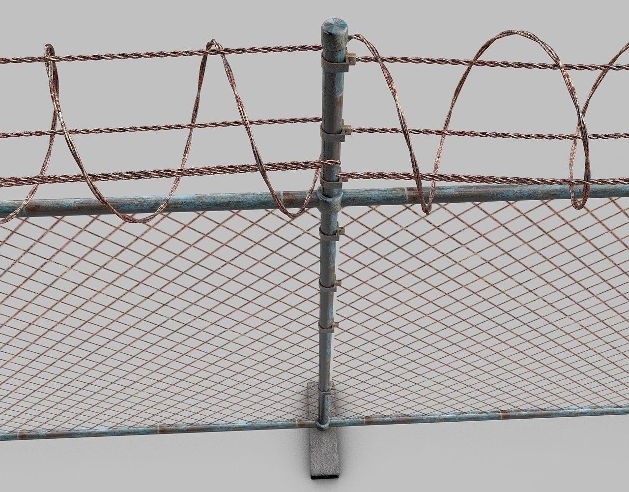 Barbed Wire Fence 3d Model Obj 3ds Fbx C4d Dxf Cgtrader Com