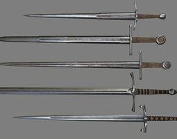 3D asset sword set 3