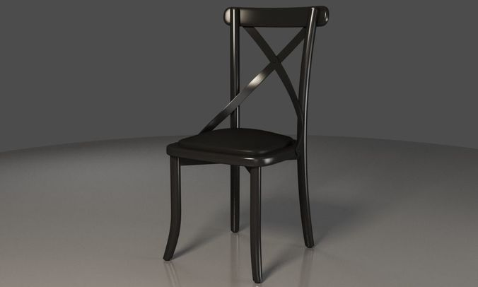 Black X Backrest Coffee Chair 3D Model
