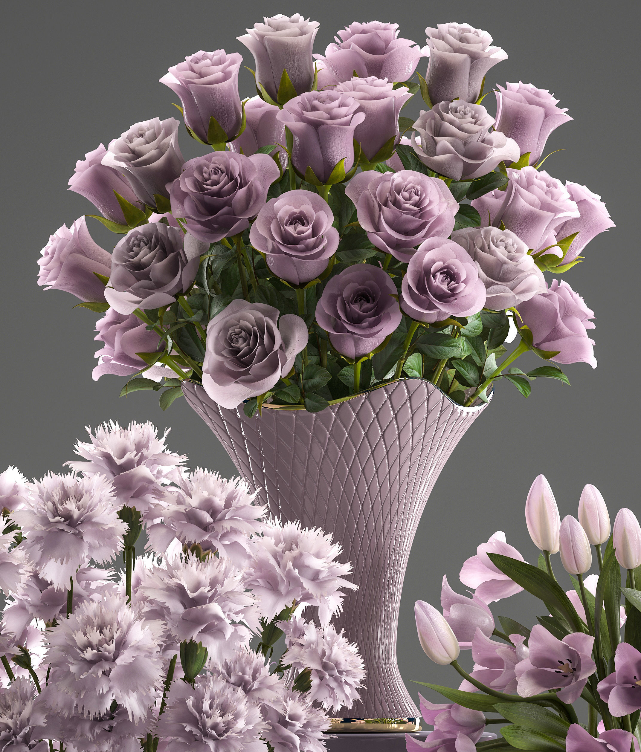 3d Model Bouquets Of Flowers In Vases Cgtrader