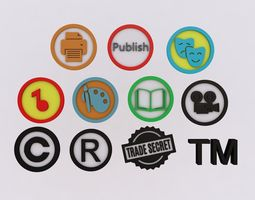 3D Intellectual Property Icons