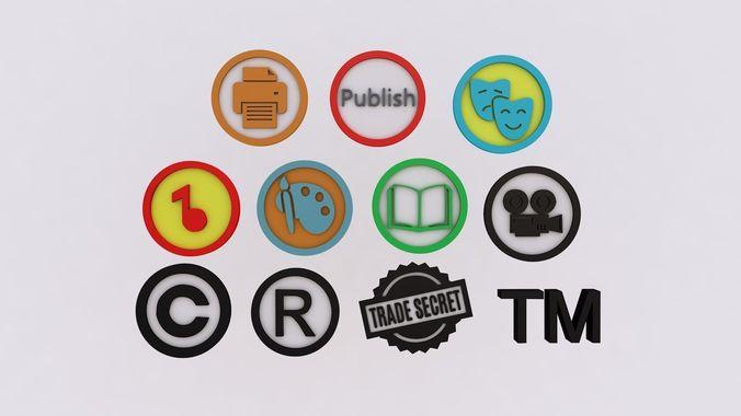 intellectual property icons 3d model obj mtl 3ds fbx c4d stl 1