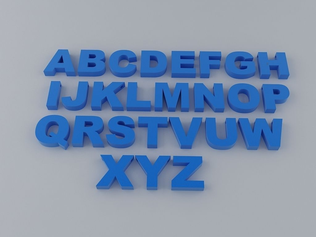 A to Z English Letters Alphabet free 3D Model 3D printable STL - CGTrader.com