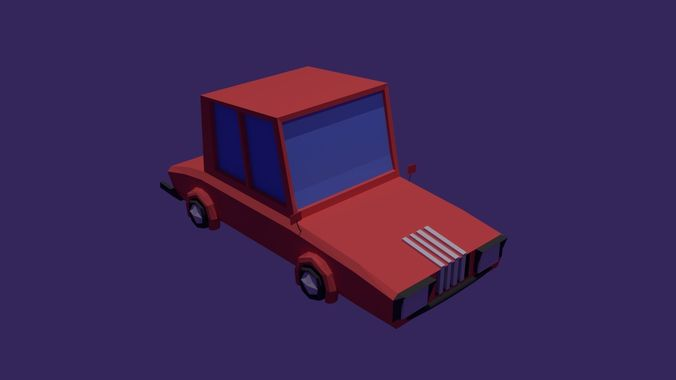 red low poly car  3d model blend 1