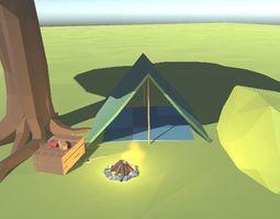 Low Poly Survival Essentials 3D asset