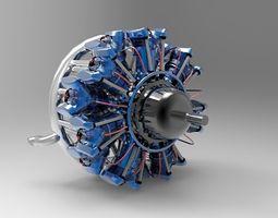 14 Cylinder Radial Engine 3D model