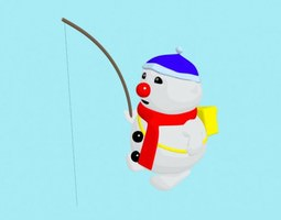 rigged 3d cartoon fishing bouli snowman