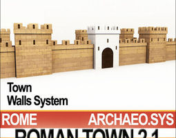 Roman Town Gate and Walls System A 2 1 Low Poly 3D Model