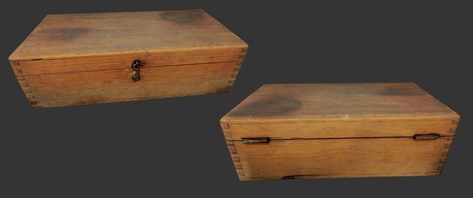 old wooden box - low poly - photogrammetry 3d model low-poly max obj mtl 3ds fbx dae tga 1