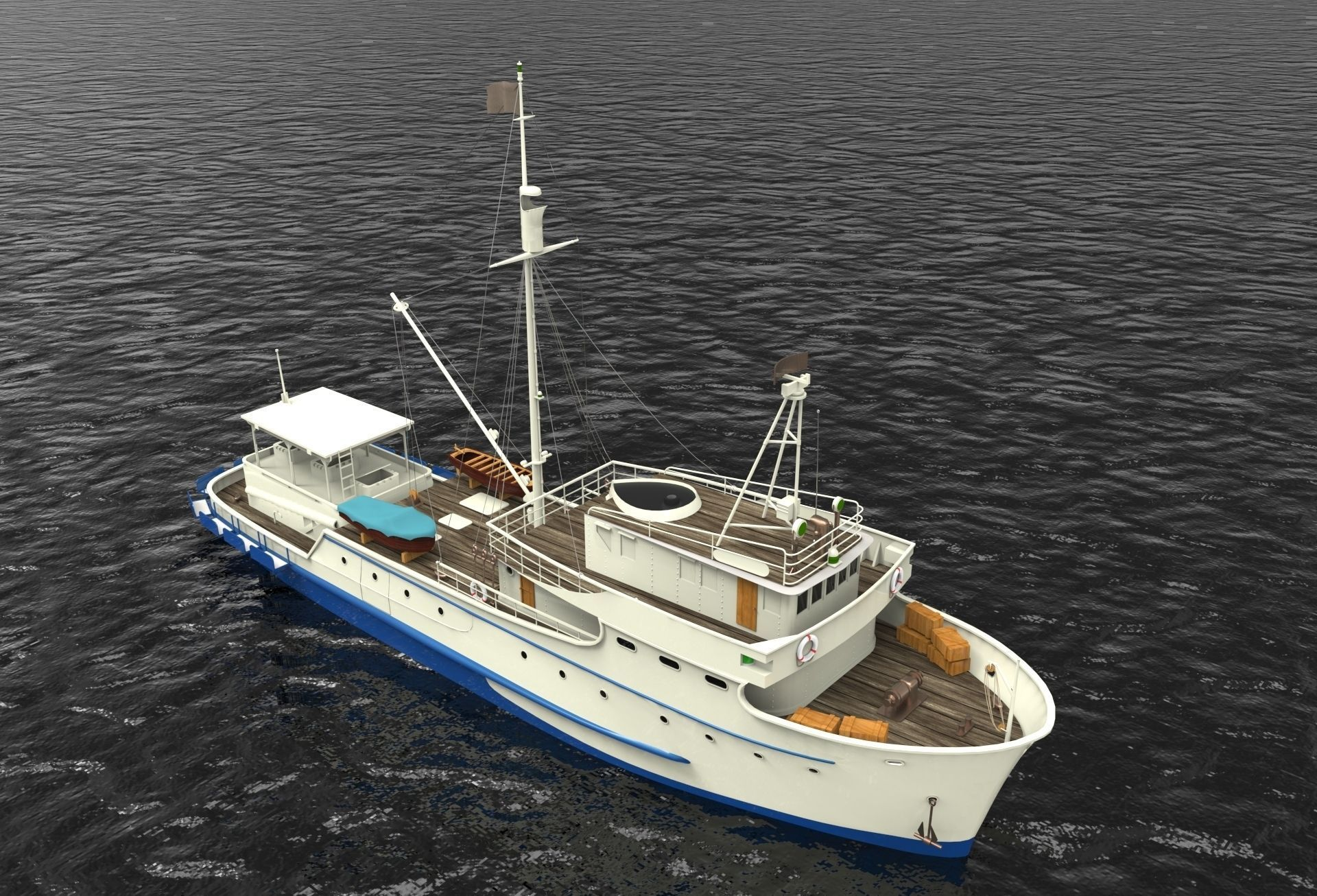 Fishing boat free 3d model 3dm for Model fishing boats