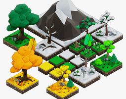 mashroom Low-poly trees set 3D