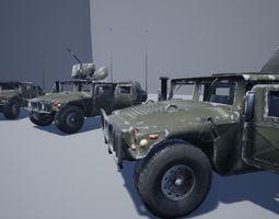 Damaged Hummer Pack 3D asset
