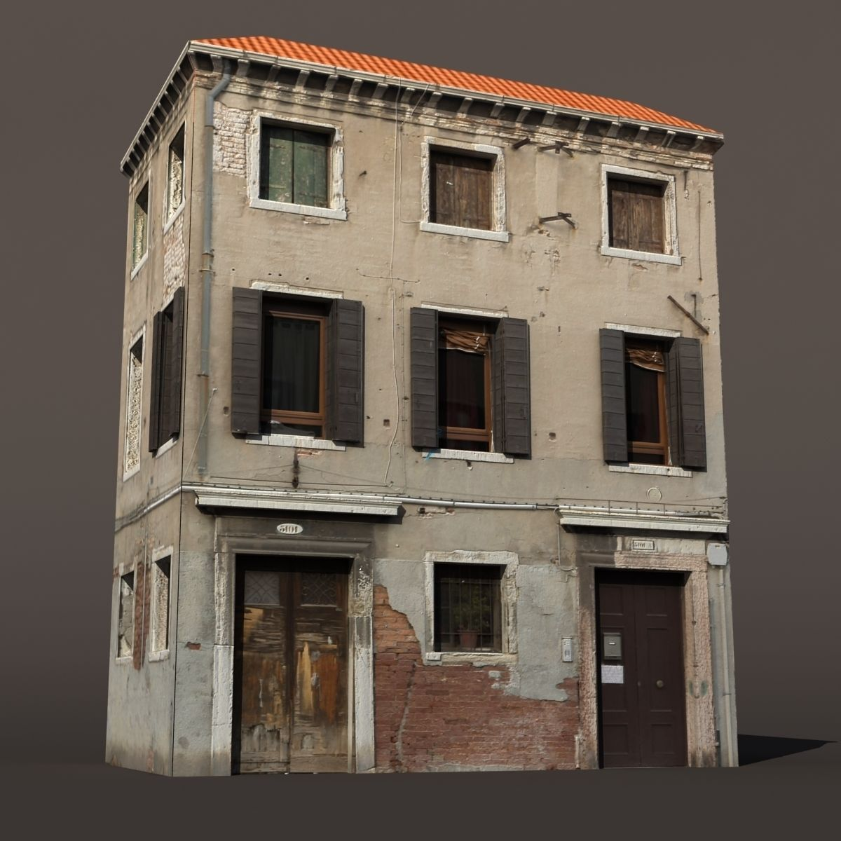 Apartment building venice low poly 144 3d model max obj for Apartment 3d model