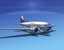 Douglas DC-3 Trans Texas Airways 3D Model