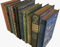 3D asset Old Books Type 1 Low Poly
