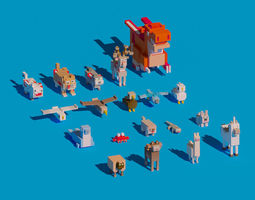 3D model Low Poly Amimals Pack - Cartoon Crossy Road