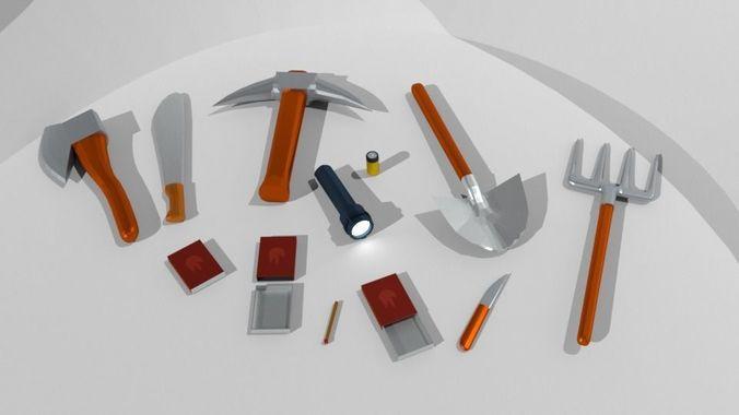 Low poly survival pack   3D model