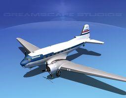 Douglas DC-3 United Airlines 3D Model