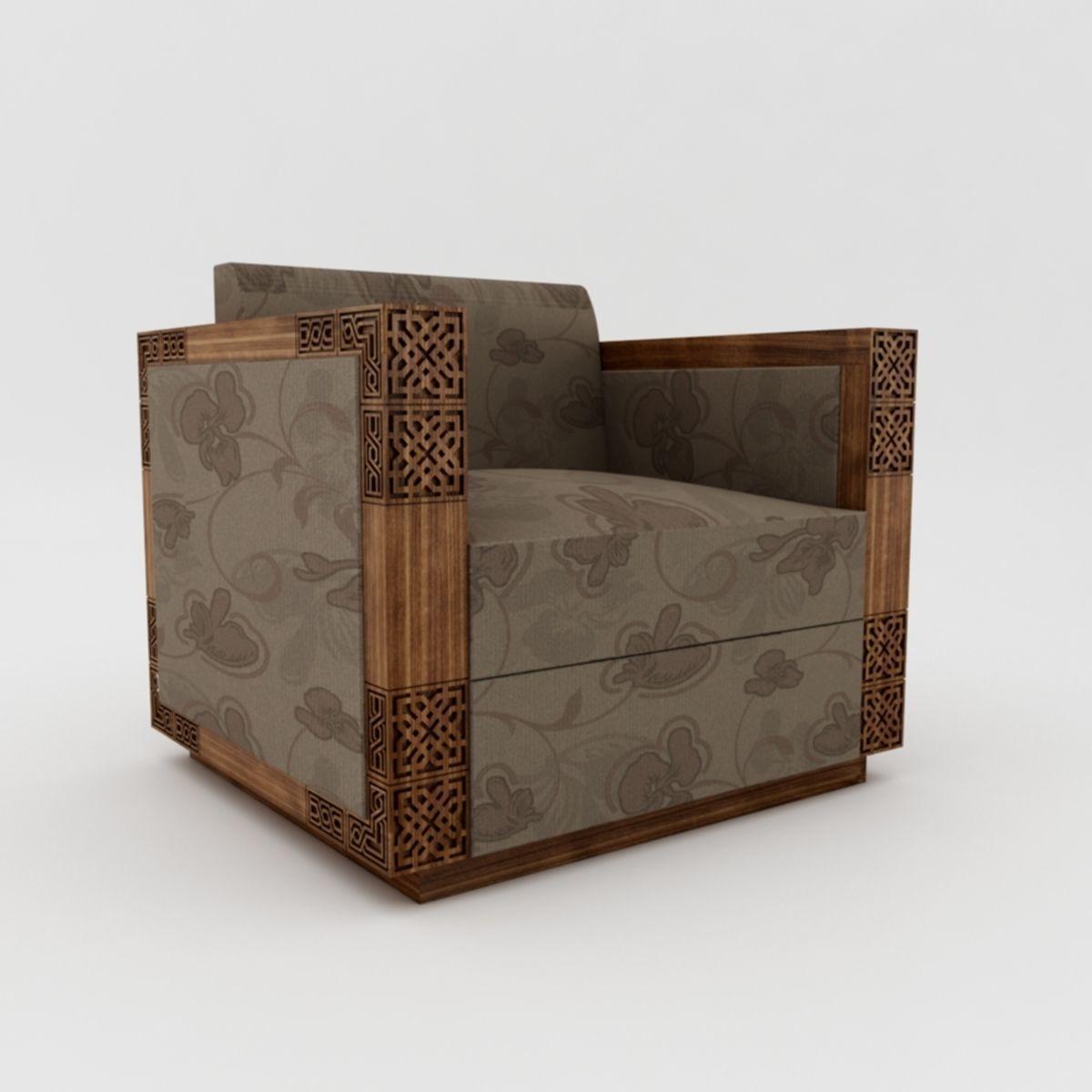 Single Seater Sofa Model Low Poly Max Obj Mtl S 9