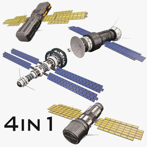 sci fi satellite collection 3d model max obj mtl fbx 1