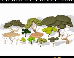 3D asset LOW POLY African Tree Pack