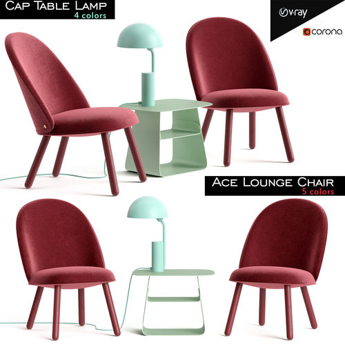 ace lounge chair and cap table lamp 3d model low-poly max fbx 1