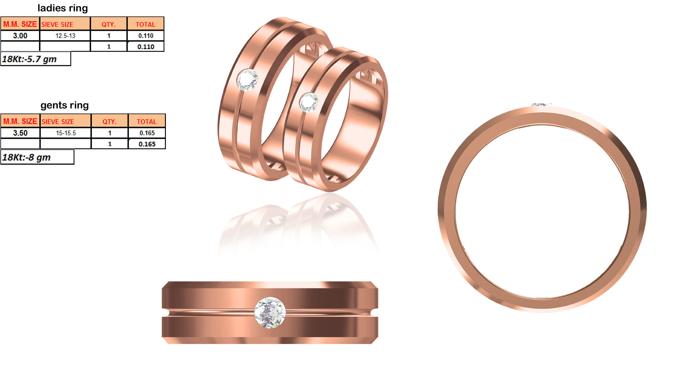 b2c395cf1f Rose Gold Couple Ring With Diamond 3D model 3D printable STL JCAD JCD