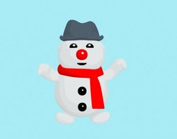 cartoon bouli snowman 3d model rigged
