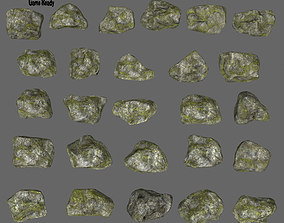 3D model mossy rock set 1