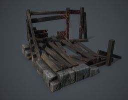 3d model wooden building after a fire game-ready