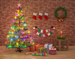 Christmas tree and decorations 3D Model