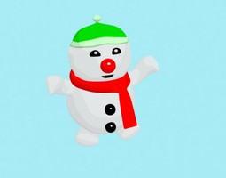 rigged cartoon bonnet bouli snowman 3d