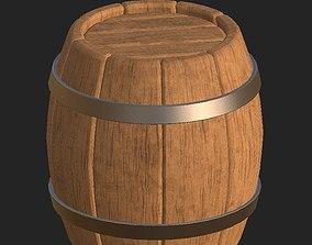 3D model Cartoon wooden barrel 2