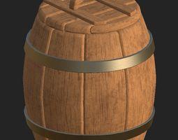 Cartoon wooden barrel 1 3D model