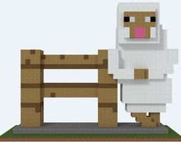 Minecraft sheep reclining on a fence 3D print model