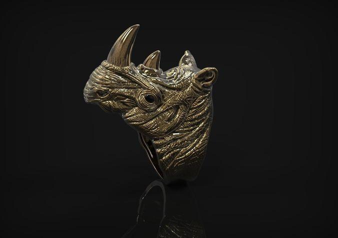 ring of the head of rhinoceros 3d model obj mtl stl 3dm 1